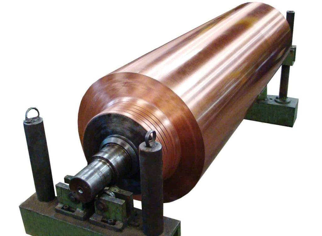 exemplo de rolo de condutibilidade elétrica revestido com cobre