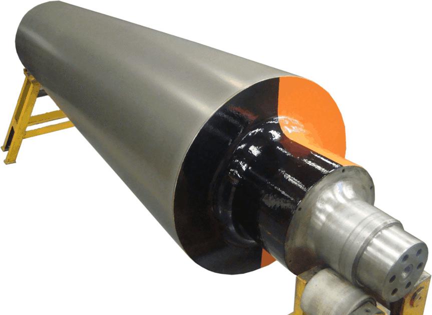 exemplo de rolo de condutibilidade elétrica revestido com carbeto de tungstênio